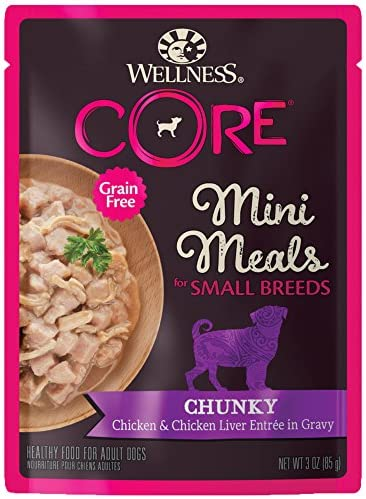 Wellness CORE Natural Grain Free Small Breed Mini Meals Wet Dog Food, 3-Ounce Pouch Pack of 12
