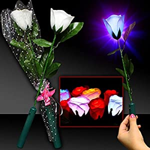 "Colorful LED Light Up 14"" White Long Stem Roses Bouquet Artificial Flowers - 12 Pack 104"