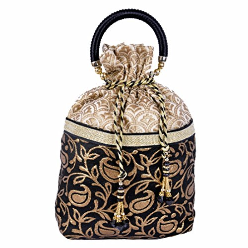Evening Brocade Bag - Traditional Women Silk Brocade Drawstring Evening Party Gift Potli Bag Handbag Black Gold