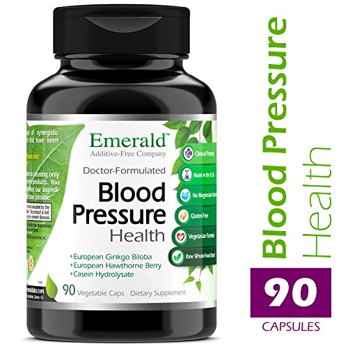 Blood Pressure Health – with European Ginkgo Biloba & Hawthorn Berry – Promotes Healthy Circulation, GI Health, Decrease Inflammation, & Stress Relief – Emerald Laboratories – 90 Vegetable Capsules