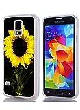 S5 Case Bumper Ultra Slim TPU Cover for Samsung Galaxy S5 Sunflower in Black