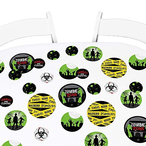 Big Dot of Happiness Zombie Zone - Halloween or Birthday Zombie Crawl Party Giant Circle Confetti - Party Decorations - Large Confetti 27 Count