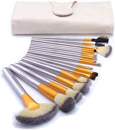 Ammiy 18 Pcs Makeup Brush Set Professional Wood Handle Premium Synthetic Kabuki Foundation Blending Powder Cosmetics Brush Tool ( White Case Bag, Located In USA Get Delivered In 3-5 Working Days)