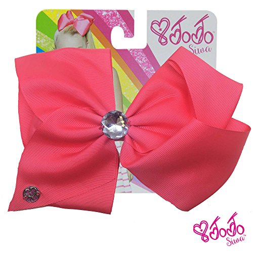 JoJo Siwa Signature Collection Hair Bow with Large Rhinestone Keeper - Neon Pink -