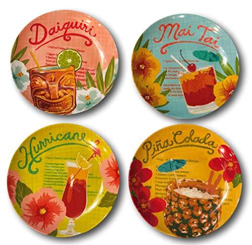 (Tommy Bahama Tropical Drinks Cocktails Melamine Salad Dessert Plates Set of)