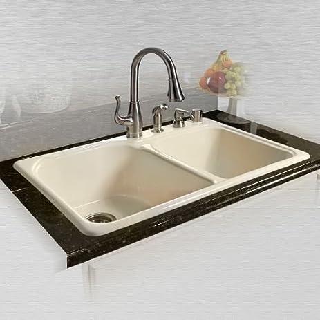 Miseno MCI67 4TM 33u0026quot; Double Basin Drop In Cast Iron Kitchen Sink,  Biscuit