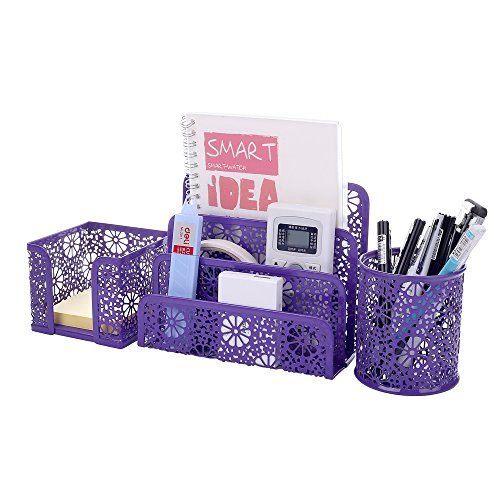 Crystallove Set of 3 Purple Metal Mesh Desktop Supplies Organizer ()