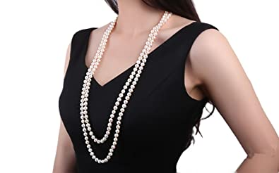 JYX Classic Double-strand 8-9mm White Freshwater Pearl Necklace Long Sweater Chain 32 D9aNjh6A
