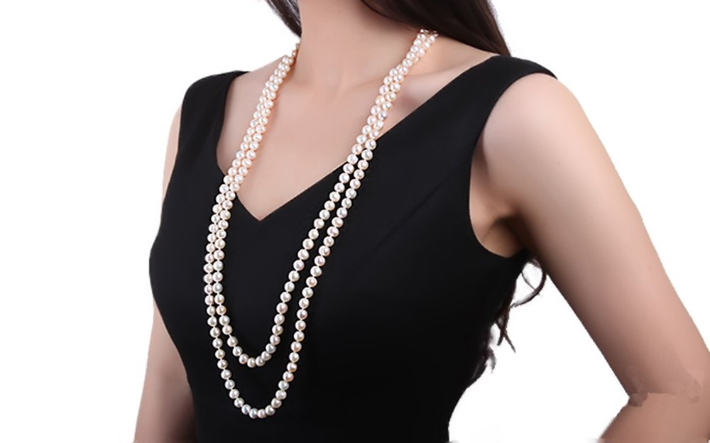 JYX Classic Double-strand 8-9mm White Freshwater Pearl Necklace Long Sweater Necklace 32''
