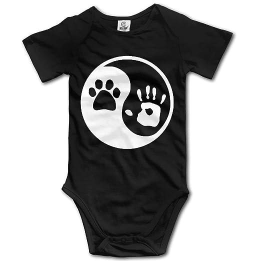 e270572b5b65 Amazon.com  Gkoko Dog Human Yin Yang Unisex Romper Play Suit Black ...