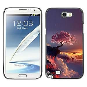 // PHONE CASE GIFT // Duro Estuche protector PC Cáscara Plástico Carcasa Funda Hard Protective Case for Samsung Note 2 N7100 / Púrpura Árbol japonés /