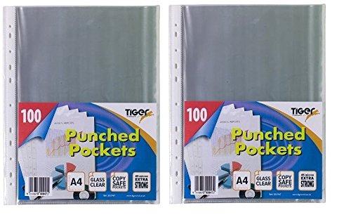 Tiger A4 starke transparente Poly gestanzten Taschen x x x 100 Hüllen Brieftaschen (Pack von 3) B01KB86ARM   Hochwertig  24d1d8