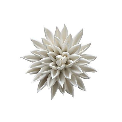 Amazon.com: ALYCASO Hand-Made 3D Ceramic Flower Wall Decor Starfish ...