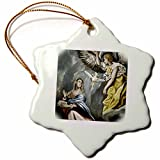 3dRose orn_82990_1 Grecos Painting The Annunciation Prisma Snowflake Decorative Hanging Ornament, Porcelain, 3-Inch