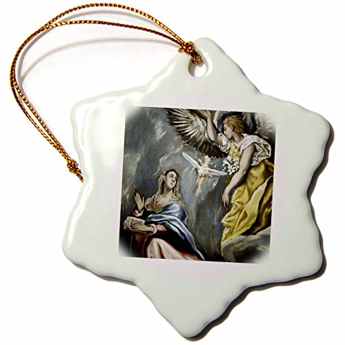 3dRose orn_82990_1 Grecos Painting The Annunciation Prisma Snowflake Decorative Hanging Ornament, Porcelain, 3-Inch by 3dRose