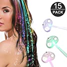 Lankony 15 Pack Fiber Optic LED Hair Lights, Multicolor Flashing Light-up Hair Barrettes for Halloween Christmas Party, Bar Dancing Hairpin
