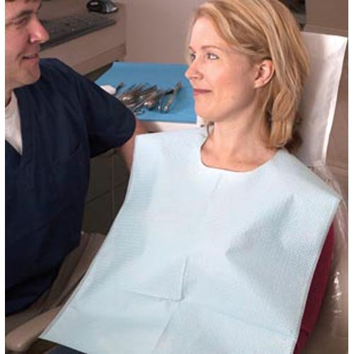 TIDI Products 917493 2-Ply Tissue/Poly Oral Surgery Bibs, Waffle Embossed, Blue, 29'' Length x 42'' Width (Pack of 50)