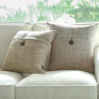PHANTOSCOPE Set Of 2 Button Beige Linen Decorative Throw Pillow Case Cushion Cover 18X18 New