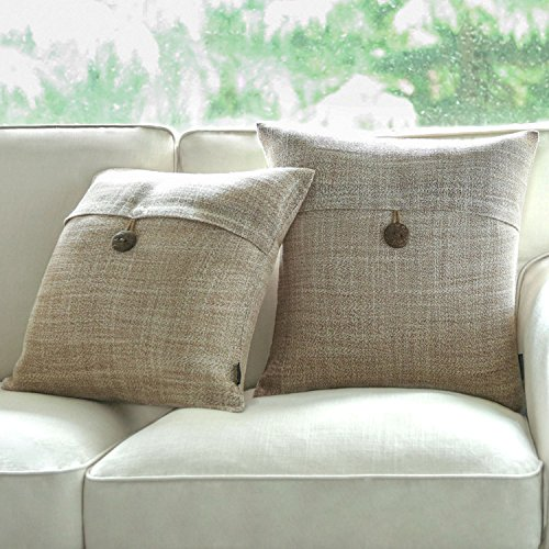 PHANTOSCOPE Set of 2 Button Beige Linen Decorative Throw Pillow Case Cushion Cover 18