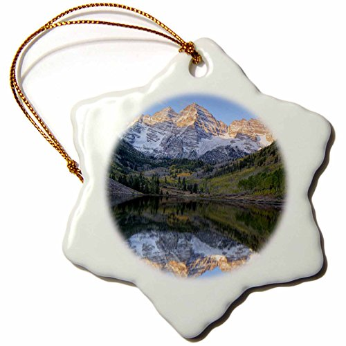 3dRose orn_88927_1 Colorado, Maroon Bells-Snowmass, Maroon Lake - US06 JWI0256 - Jamie and Judy Wild - Snowflake Ornament, Porcelain, 3-Inch ()