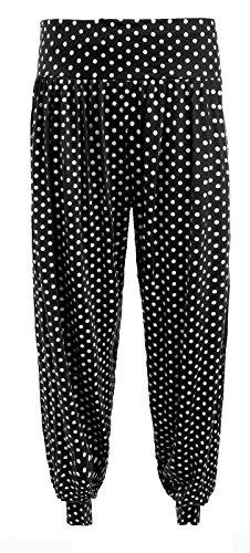 FASHION FAIRIES - Pantalones harén con parte inferior ceñida talla grande para mujer, talla 40-56 BLACK POLKA PRINT