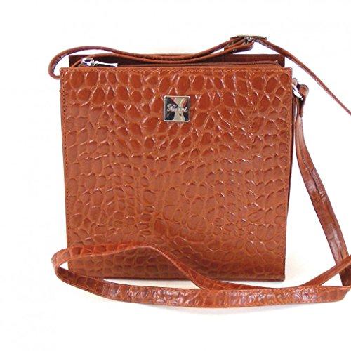 Pavini Damen Tasche Crossovertasche Croco Leder cognac 12481 Reißverschluss