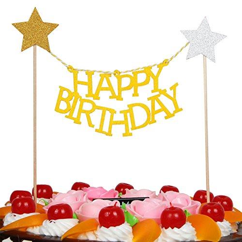LOVELY BITON(TM) Gold Happy Birthday Cake Topper Banner for Parties Birthdays Baby & Bridal Showers (Birthday Banner Cake Topper)