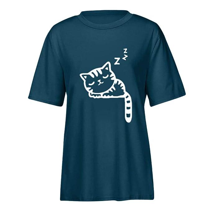 BBestseller Camisas para Mujer, Moda Cuello Redondo Estampado de Gato Mujer Top de Manga Corta Mujer Camiseta Personalizadas T-Shirt: Amazon.es: Ropa y ...