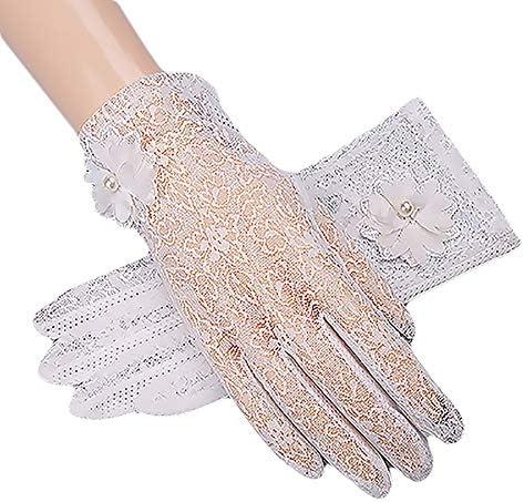 Rutschfest Outdoor-Handschuhe Touchscreen-Handschuhe f/ür Damen UV-Schutz KTENME Fr/ühlings- und Sommer-Spitzen-Handschuhe Hochzeit Fahren Beige-a kurz d/ünn atmungsaktiv 24 cm Spitze