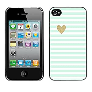 FECELL CITY // Duro Aluminio Pegatina PC Caso decorativo Funda Carcasa de Protección para Apple Iphone 4 / 4S // Green Mint Gold Heart Love Stripes White
