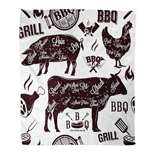 Golee Throw Blanket Beef Meat Cuts and Barbecue Brisket Butcher Cow Organic Animal 60x80 Inches Warm Fuzzy Soft Blanket for Bed Sofa