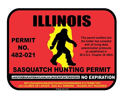 JS Artworks Illinois Sasquatch Hunting Permit License Bigfoot Vinyl Sticker Decal