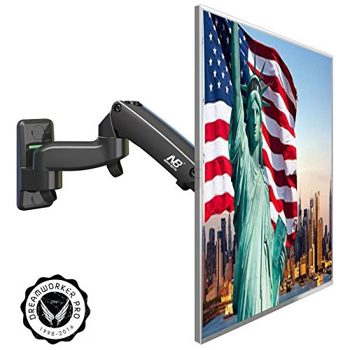 Computer Monitor Wall Mount, Full Motion Single Flat Panel Display TV Arm, Fits 17