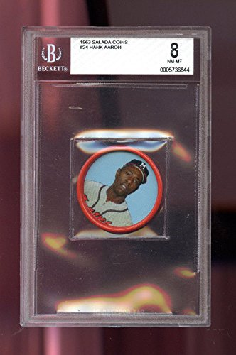 1963 Salada Junket All Star #24 Hank Aaron BVG BGS 8 Graded Baseball Coin Card - Salada Baseball Coins