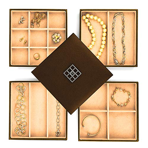 Stock Your Home Stackable Jewelry Organizer Trays for Jewelry Showcase Display & Jewelry Storage Holder for Earrings, Bracelets, Necklaces & Rings - Set of 4 (Bronze)