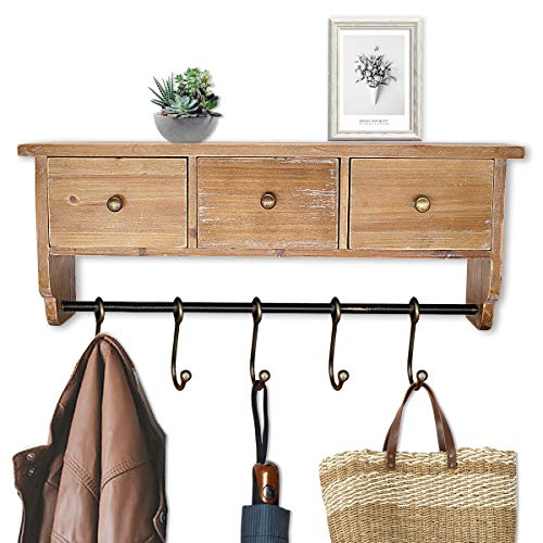 Coat Rack Shelf Wall Mounted Rustic Organizer Shelf with Hooks and Baskets, Solid Wooden Shelf Rack for Entryway, Bedroom and Bathroom (Shelf And Coat Hooks)
