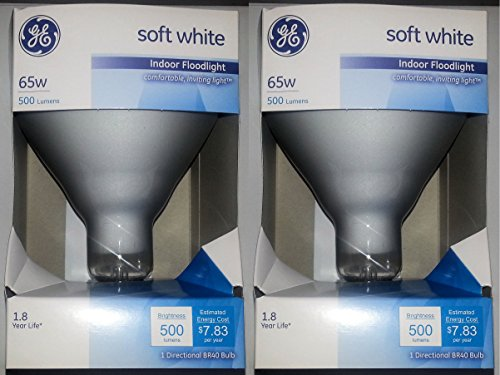 Br40 Light Bulb - GE 65 Watt Soft White Floodlight BR40 Light Bulb, 2-Pack