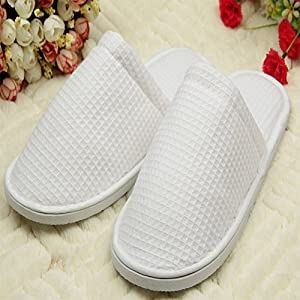 1Pair Unisex Pure white SPA slipper Open toe Closed-toe General Disposable Hotel slippers Home indoor slipper for guest (Close toe)