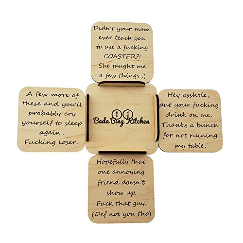 Bada Bing Kitchen Vulgar Coasters Set: 4-Pack Funny Reusable Engraved Drink Coasters w Stand | Angry Host Hilarious Personalized Beer Coasters, Top Housewarming, First Home, Groomsmen & Birthday Gift