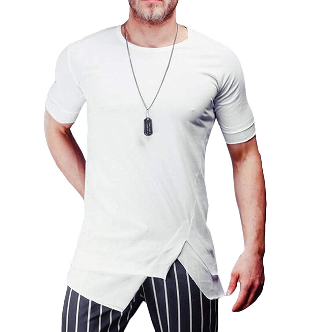 Domple Mens Irregular Round Neck Solid Color Short Sleeve Hipster T Shirts Tee