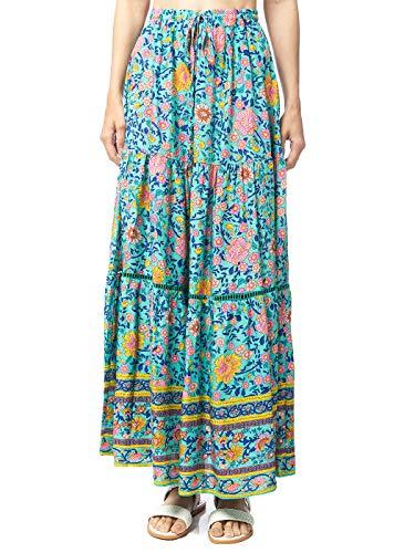 Anna-Kaci Women's Floral Printed Elastic Waist A Line Bohemian Midi Maxi Skirt, Turq, Large