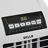 Della 8,000 BTU Portable Air Conditioner Cooling Fan Dehumidifier A/C Remote Control + Window Vent Kit, White