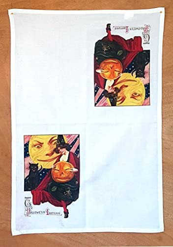 2nd Generation Microfiber HALLOWEEN Tea Towel Vintage Image with Funny Cute Pumpkin Girl and Cat 611-152