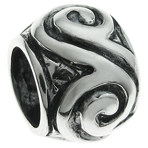 Swirl Silver Beads - Sterling Silver Swirl Flower European Style Bead Charm 9mm