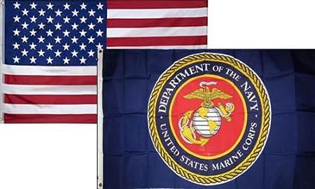 3x5 Wholesale Combo USA American /& USA EGA Marines USMC Marine Flag 3/'x5/' 2 Pack