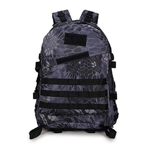 Z&N Backpack Mochila militar camping al aire libre alpinismo deportes hombros mochila de camuflaje mochila táctica militar hombres y mujeres de gran capacidad 40L portátil al aire librecp40L black python