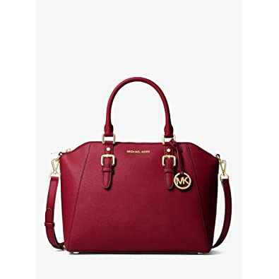 080e4d98392723 Amazon.com: Michael Michael Kors Ciara Saffiano Leather Large Satchel Bag  in Red Maroon: Shoes
