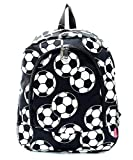 Soccer Ball Sport Print Zipper Backpack Handbag Black