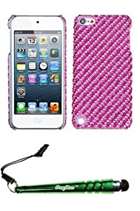 FoxyCase(TM) FREE stylus AND APPLE iPod touch (5th generation) Stripe Pink Hot Full Diamond Bling Phone Back Protector Cover cas couverture
