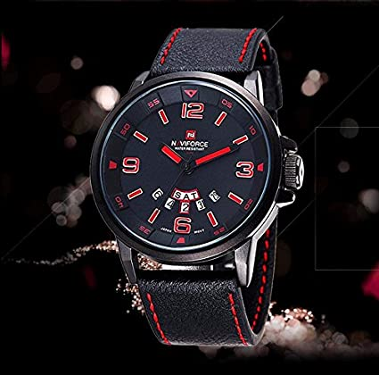 e54aaa73b9e Amazon.com   NAVIFORCE Clock Men s Watch 9028 Fashion Business Mens Watches  Top Brand Luxury Quartz-watch Wristwatches Relogio Masculino 2016 Black Red  ...